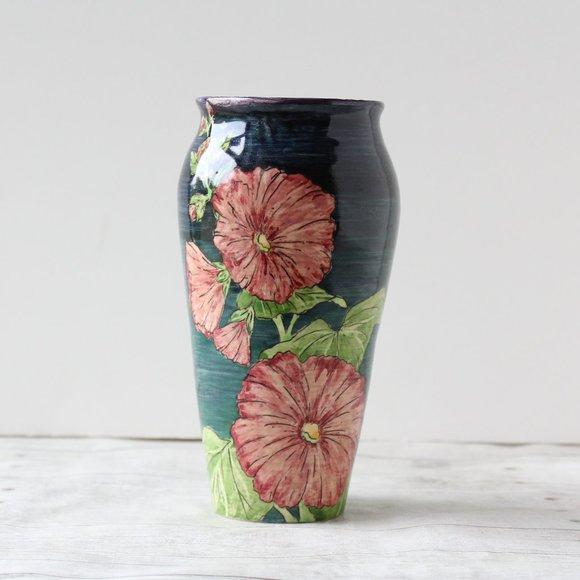 Lakshmi Design Pottery Hand Painted Floral Vase 82